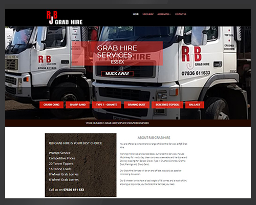 RJB Grab Hire Services Essex website image by BWSIT Limited web small and medium enterprise