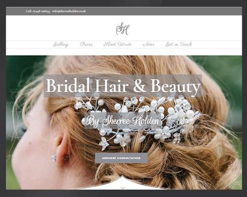 Sherree Holden Bridal Hair and Beauty, Website by BWSIT Limited Web sole trader